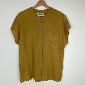 100% Linen Rafaella Mustard Button Down Blouse